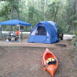 My camp site.  Napier Link and Truck Tent. Emotion Glide kayak.  Canopus, tables, cooking gear, etc.